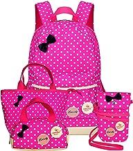 Girls Backpacks and Lunch Bag for School Book Bag and Handbag Purse Polka Dots (Rose 4Pcs Polka Dots)