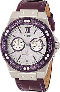 Guess Womens Quartz Watch, Analog Display and Leather Strap W0775L6