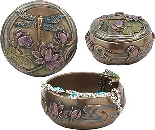 Ebros Dragonfly Flitting Over Lily Pad in The Pond Round Jewelry Box Secret Trinket Keepsake Figurine