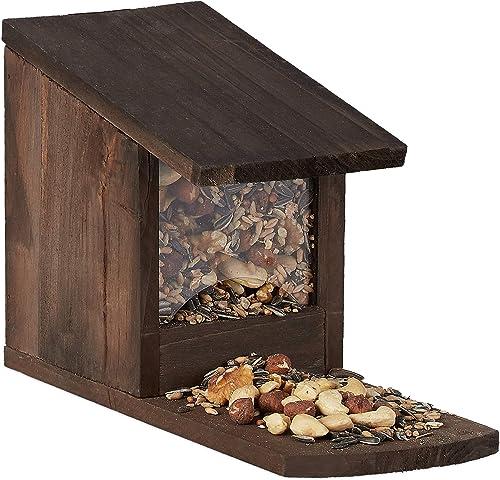 Relaxdays 10026312_746 Mangeoire pour écureuils, Distributeur Nourriture, à Installer, Bois, HLP: 17,5 x 12 x 25 cm, ...
