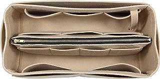 [Fits Neverfull MM/Speedy 30, Khaki] Purse Insert (3mm Felt, Detachable Pouch w/Metal Zip), Felt Tote Bag Organizer