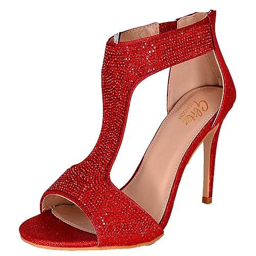 5053daab895 WeHeartShoes Ladies Diamante High Heel Sandals
