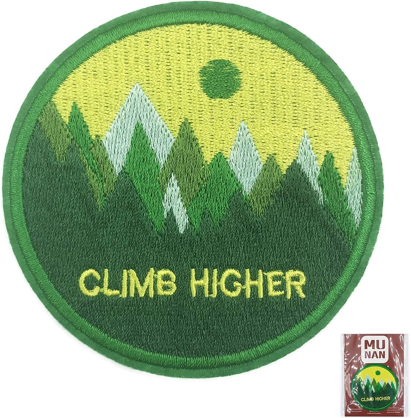 Green Climb Higher Patch Embroidered Iron Badge Sew Applique On Topics Choice on TV