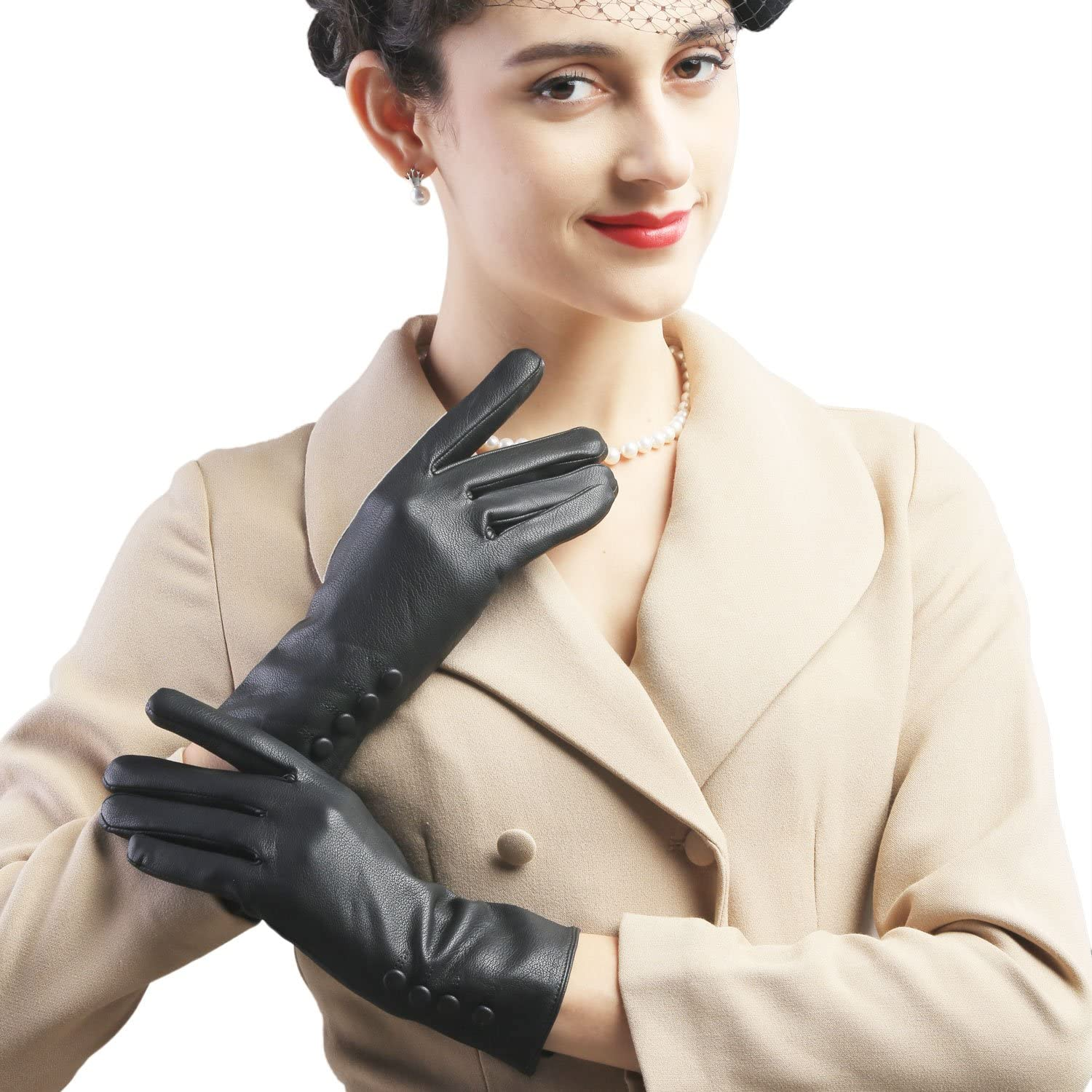 Mandy's Women's Autumn Winter 4 Button Driving Faux Leather Gloves