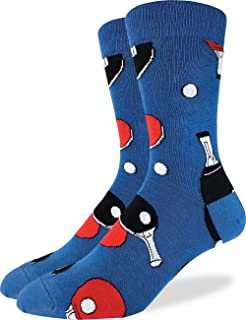 Good Luck Sock Men's Ping Pong Crew Socks - Blue, Shoe Size 7-12