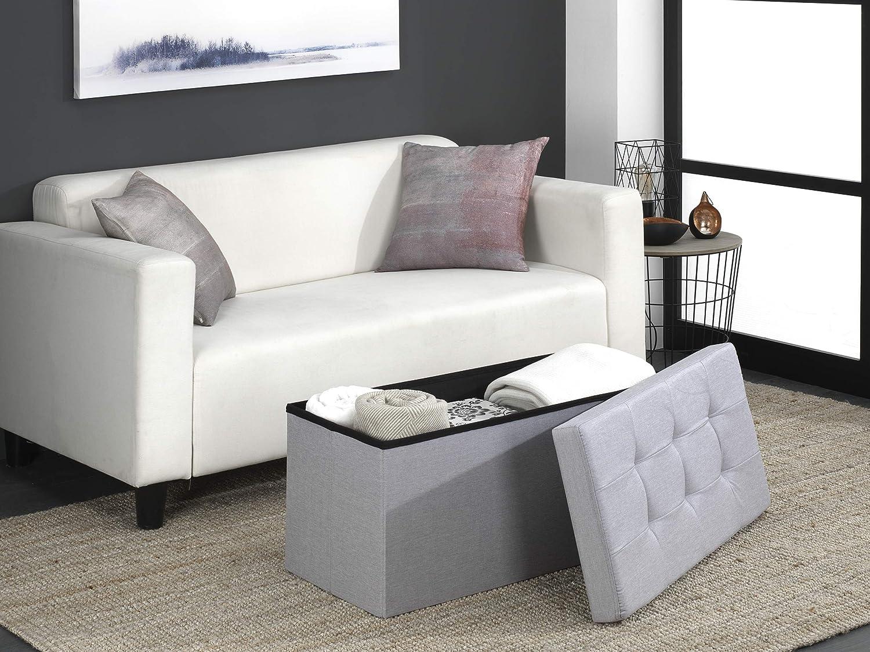 D/&D Quality Pouf portaoggetti pieghevole 76 x 38 x 38 cm seduta imbottita Carico massimo di 300 kg grigio chiaro