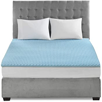 Sleep Philosophy BASI16-0381 Memory Foam Topper, Blue