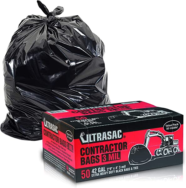 Heavy Duty Contractor Bags By Ultrasac VALUE 50 PACK W TIES 42 Gallon 2 9 X 4 3 MIL Thick Large Black Industrial Garbage Trashbags For Construction And Commercial Use