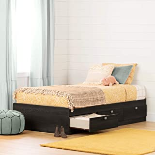 South Shore Spark Mates Bed with Drawers-Twin-Gray Oak