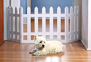 Zoogamo 3 Panel Wood Picket Fence Design Pet Gate - 19 Inches Tall and Expands Up to 48`` Wide Durable Lightweight Extra Wide Wooden Expandable & Folding Home/Indoor/Outdoor Dog Fence