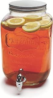 Circleware 92002 Sun Tea Mason Jar Glass Beverage Dispenser with Lid, Entertainment Glassware Pitcher for Water, Juice, Beer Wine Liquor, Kombucha & Cold Drinks, Huge 2 Gallon, Classic Yorkshire