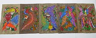 5 AMATE BARK PAINTING SET native ethnic mexican hanging folk art 15