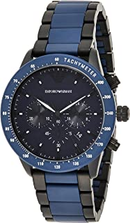 Emporio Armani Men's Blue Dial Stainless Steel Analog Watch - AR70001