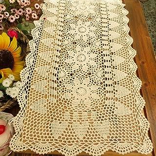 kilofly Handmade Crochet Lace Rectangular Table Runner 15 x 36 Inch, Beige