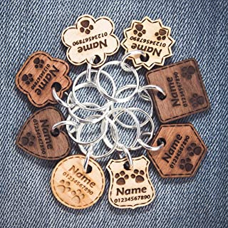 Wooden Dog Tags Cat Name Tags Engraved Personalised Pet ID
