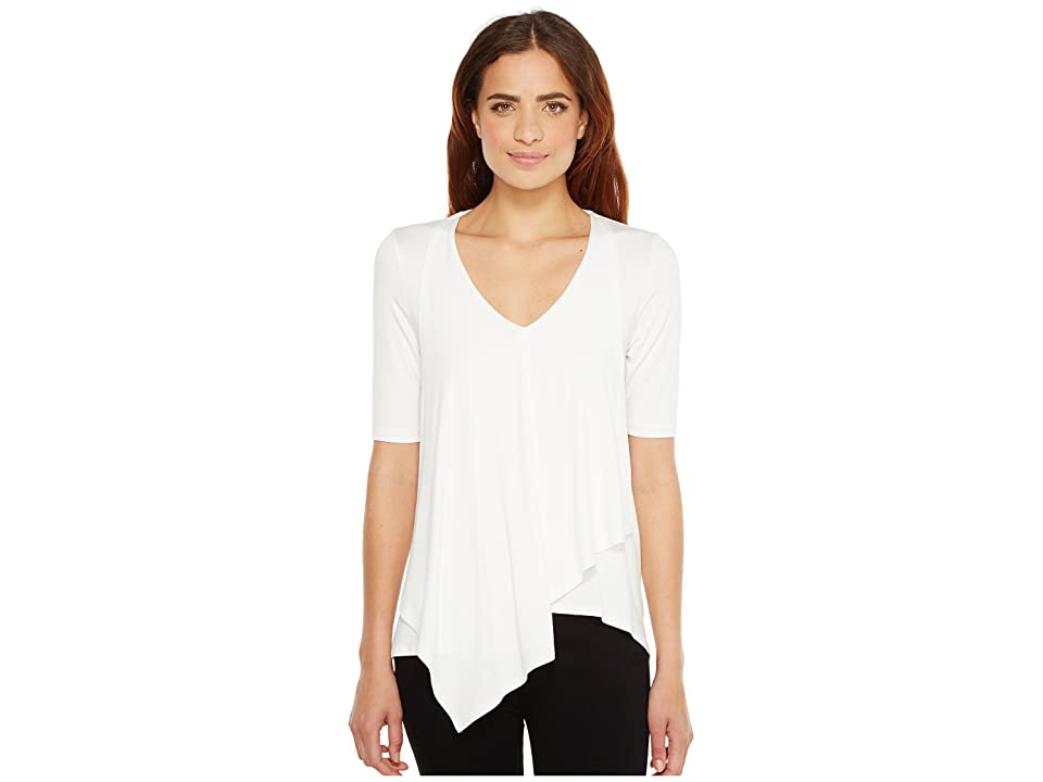 Karen Kane Pencil Sleeve Drape Tee (Off-White) Women