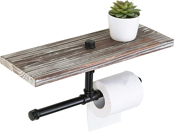 MyGift Industrial Wall Mounted Dual Pipe Toilet Paper Holder With Rustic Torched Wood Shelf