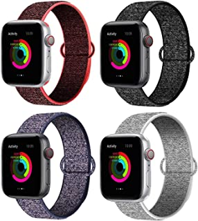 QIENGO Compatible for Apple Watch Band 38mm 40mm 42mm 44mm, Nylon Sport Loop Adjustable Closure Wrist Strap, Replacement Band Compatible for iWatch Series 5/4/3/2/1