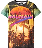 Balmain Kids - Short Sleeve Palm Tree Balmain Beach Club Tee (Big Kids)