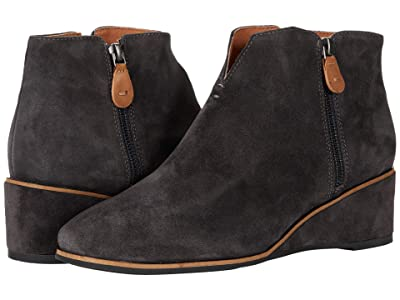 Gentle Souls by Kenneth Cole Ella Wedge Zip (Charcoal Suede) Women
