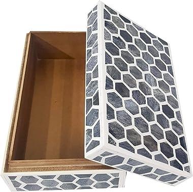 Antique Handcrafted Grey Bone Inlay Decorative Box Premium Home Decor Big storage box, 7X5X4 , Grey