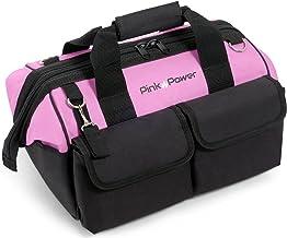 Pink Power 16 inch gereedschapstas voor vrouwen met 22 opbergzakken en schouderriem