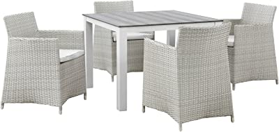 "Modway Junction Wicker Rattan 5-Piece Outdoor Patio Dining Set with 39"" Dining Table and Four Dining Armchairs with Cushions in Gray White"