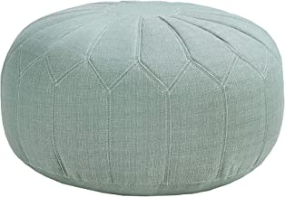 Madison Park MP101-0213 Kelsey Round Floor Pillow Pouf Large-Soft Fabric, Polystyrene Beads Fill Ottoman Foot Stool-1 Piece Mid-Century Modern Floral Design Oversized Beanbag, Seafoam