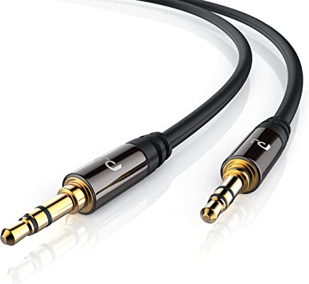 Primewire - 5m Premium audio cable / jack - extension cable for AUX inputs | solid metal plug | 3.5mm plugs for 3.5mm sockets | for Headphones, iPods, iPhones, iPads, Home / Car Stereos and many more