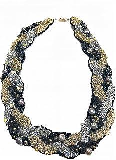 【ネックレス】【完成品】ビーズ刺繍 黒 シルバー ゴールド パーティー 天然石 淡水パール