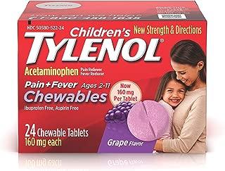 Children's Tylenol Chewables, Acetaminophen for Pain & Fever Relief, Grape, 24 ct
