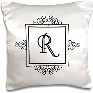 3dRose pc_154341_1 Initial Letter R Personal Monogrammed Fancy Black and White Typography Personalized Pillow Case, 16
