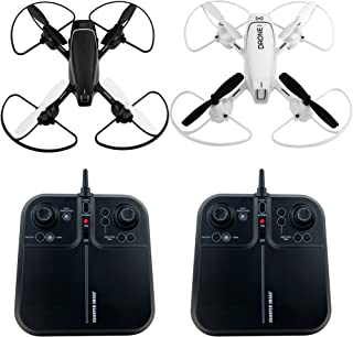 SHARPER IMAGE Two Pack 5-Inch Mach Racer Drones, 2.4GHz Rechargeable RC 6-Axis Quadcopter Kit, LED Lights, Autopilot System – White vs. Black