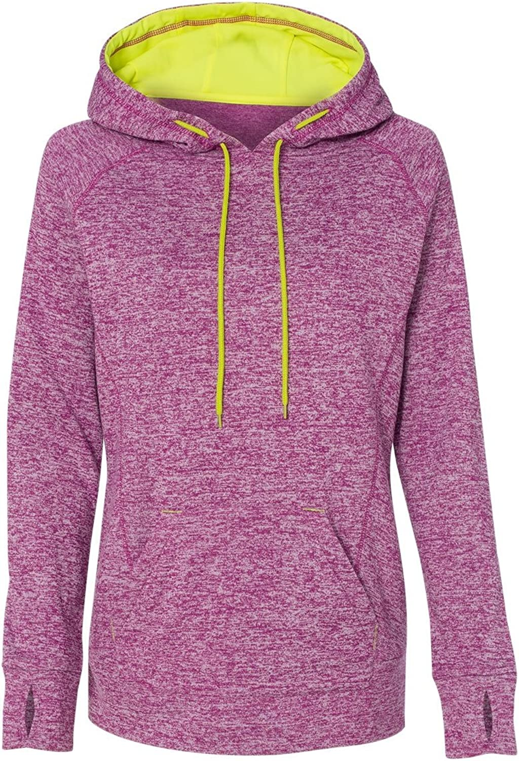Ladies' Cosmic Contrast Fleece Hood MAGENTA  NEON YL 2XL