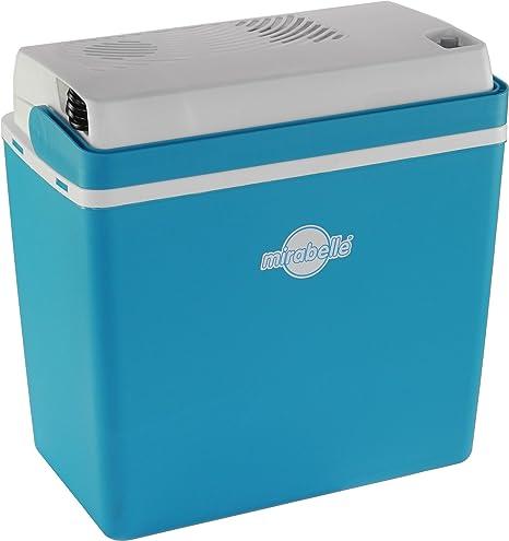 EZetil Nevera termoeléctrica Mirabelle E24, ideal para actividades al aire libre en el jardín, barbacoas y picnic, 12 V/230 V, azul/blanco