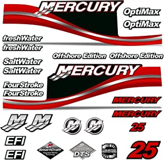 AMR Racing Outboard Engine Motor Sticker Decal Graphics kit for Mercury 25 - Red
