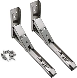 Karcy 2pcs 8 inch Length 90 Degree Wall Mounted Spring Loaded Folding Shelf Brackets with Mounting Screws (8