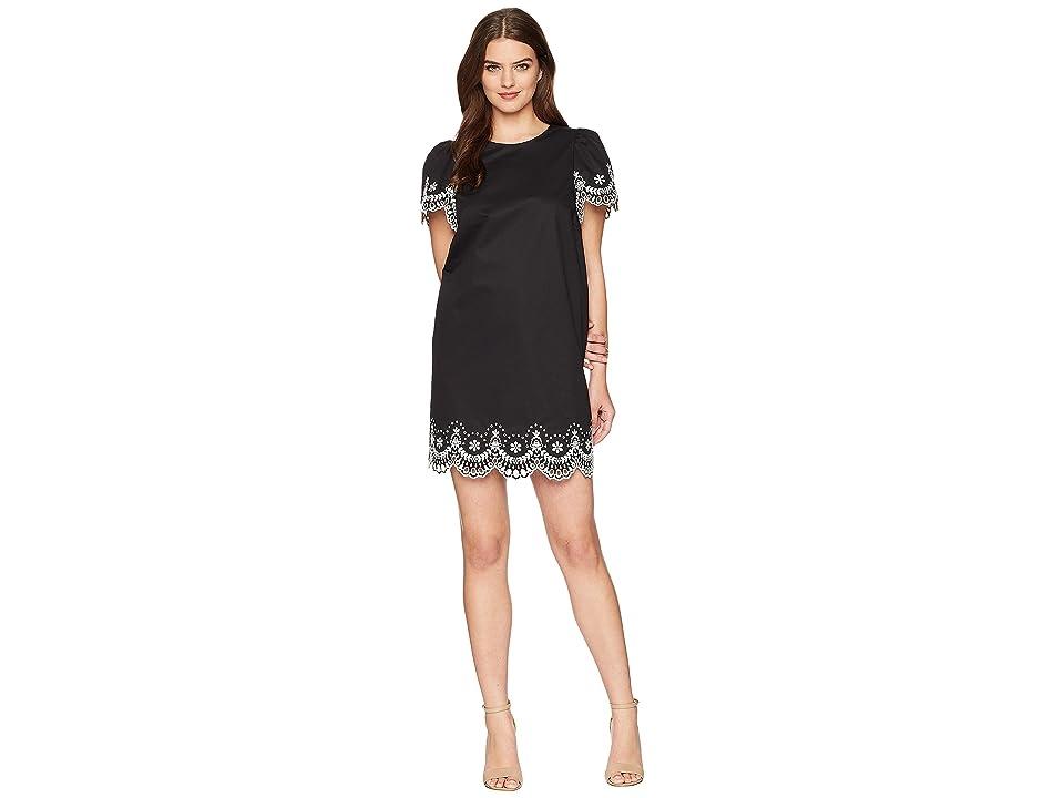Kate Spade New York Flutter Sleeve Cutwork Dress (Black) Women