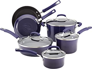 Rachael Ray 12800 Brights Nonstick Cookware Pots and Pans Set, Purple Gradient
