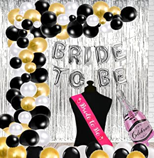 Realistic Store Bride To Be Letter Balloons and HD Metallic Balloons, Curtain & Champagne Foil with Sash Combo Set Bridal ...