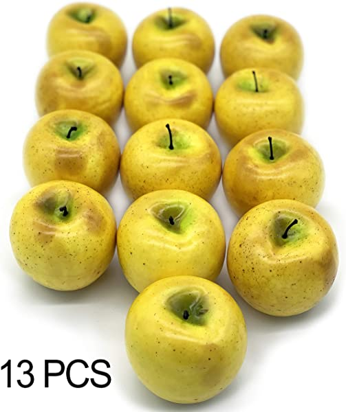 Realistic Fake Apples 13 PCS Fake Fruits For Decoration Yellow
