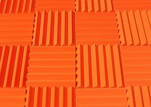 "Soundproofing Acoustic Studio Foam - Orange Color - Wedge Style Panels 12""x12""x2"" Tiles - 4 Pack"