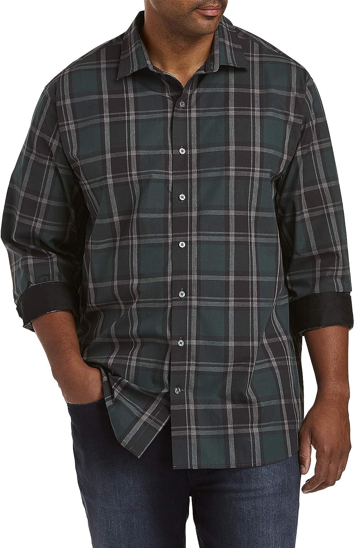 DXL Synrgy Big and Tall Plaid Sport Shirt, Black