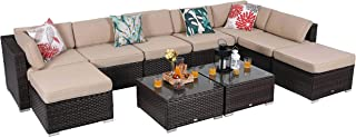 PHI VILLA 10-Piece Outdoor Furniture Set Rattan Patio Sectional Sofa with Tea Table and Ottoman, Beige