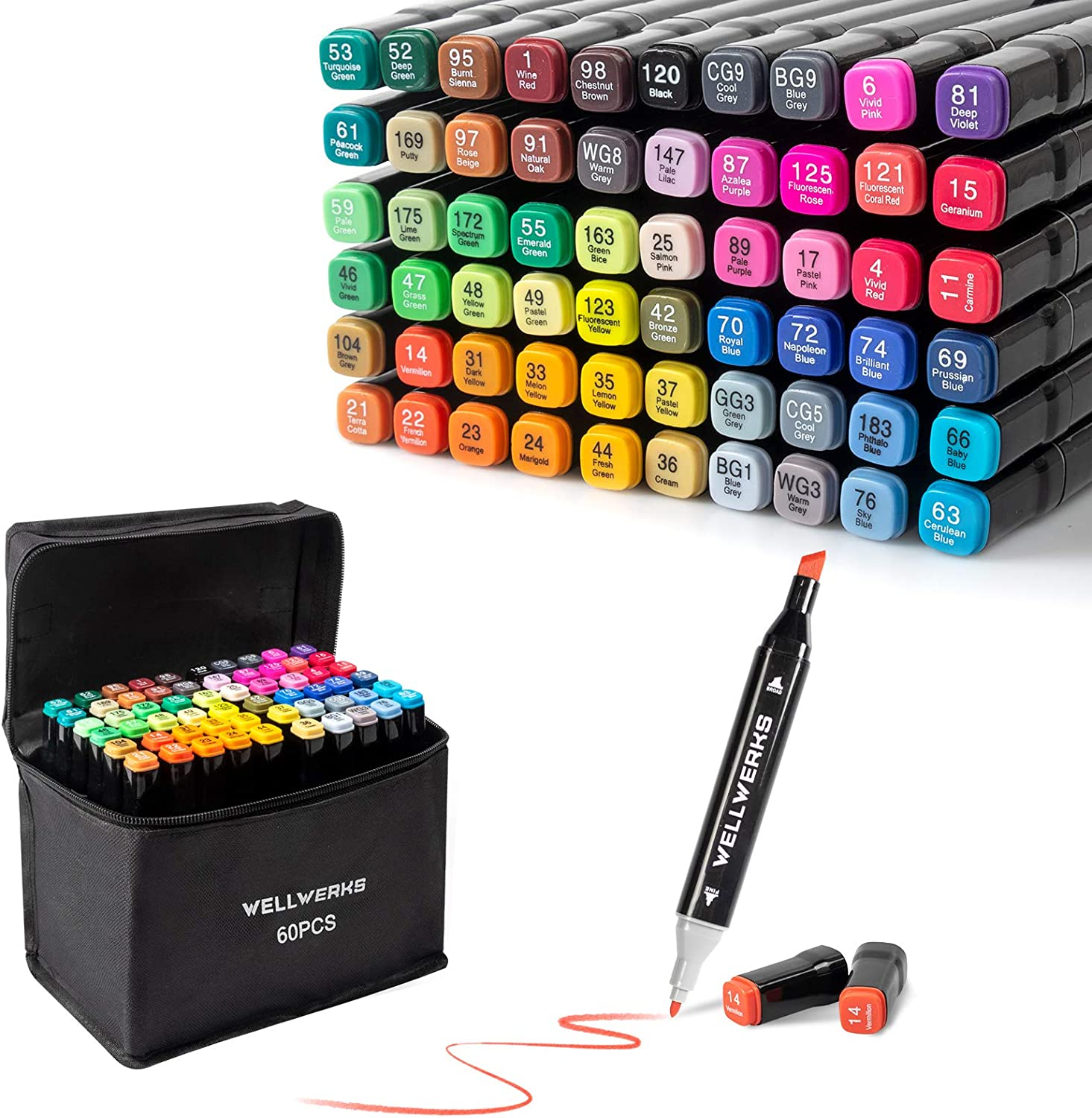 60 OFFicial mail order Colors Alcohol Markers Wellwerks Max 81% OFF D Brush Double-Tip Chisel