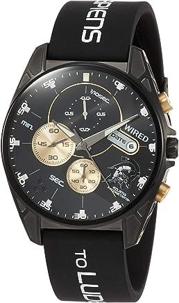 [ワイアード]WIRED 腕時計 WIRED コジマプロダクション コラボ限定 限定1,500本(国内のみ) ルーデンスモチーフ クロノグラフ付き ブラック文字盤 カーブハードレックス 10気圧防水 AGAT729 メンズ