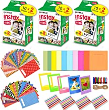 HeroFiber Accessories Kit for Fujifilm Instax Mini 9/8 Camera Includes: 3 x Fujifilm INSTAX Mini Film Pack (60 Sheets Total), 60 Colorful Mini 9 Sticker Frames, Colorful Plastic & Paper Frames + More