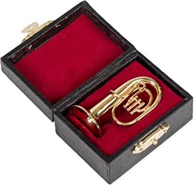 Broadway Gift Tuba Miniature Replica Gold Brass Tone 1.5 x 2 Resin Stone Tabletop Figurine