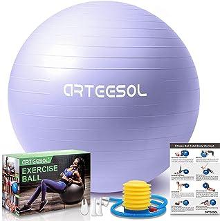 arteesol Exercise Ball, Gym Ball Anti-Burst Yoga Ball, 45cm/55cm/65cm/75cm Extra Thick Swiss Ball with Pump, for Fitness Birthing Physio Balance Pilates