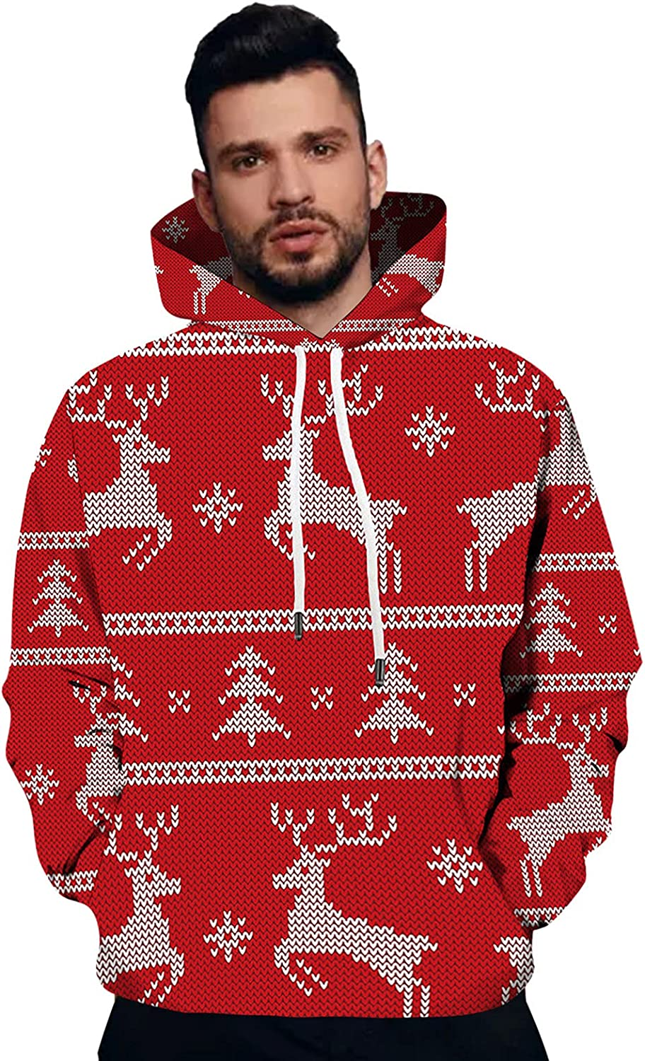 Christmas Sweatshirts Mens Max 87% OFF Casual Long Hooded Pullover Sleeve Sw Complete Free Shipping